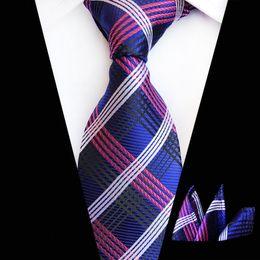 $enCountryForm.capitalKeyWord Australia - Navy Red Blue Plaid Geometric Neckties for Men 2019 New Designer Business Party Man's Neck Ties Hanky Sets