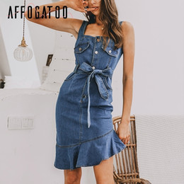 $enCountryForm.capitalKeyWord Australia - Affogatoo Elegant Ruffle Strap Bodycon Blue Denim Dress Women Casual Mermaid Summer Dress Vintage Buttons Jeans Dresses Ladies Y19073101