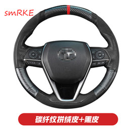 ToyoTa camry sTeering wheel online shopping - forToyota camry th Toyota Avalon DIY Hand sewing Carbon fiber Black leather Suede steering wheel cover