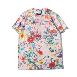 Discount floral printed tshirt men - 2019 Mens Designer T Shirts Fashion Brand Floral Letter Print Blouses Casual Tees Summer Short Sleeve O-Neck Tshirt S-2X