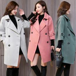 $enCountryForm.capitalKeyWord Australia - Office Lady Slim Long Wool Blend Ladies Coat Trun-down Collar Women's Jacket Double Breasted Korean Womens Fashion Coat