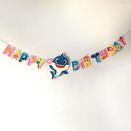 $enCountryForm.capitalKeyWord Australia - Baby Shark Happy Birthday Paper Flag Banner Decoration Shark Party Happy Birthday Party Kids Summer Party Supplies 20pcs