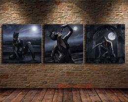 $enCountryForm.capitalKeyWord Australia - Cat Woman , 3P Canvas Pieces Home Decor HD Printed Modern Art Painting on Canvas (Unframed Framed) #01