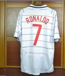 soccer jerseys thai free shipping 2020 - Retro soccer Jerseys away white 2003 2004 Giggs Scholes Beckham ronaldo roony Neville jerseys 03 04 best thai quality sh