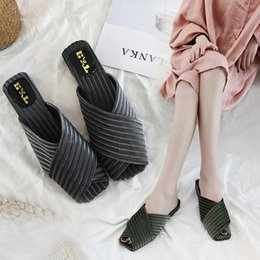b85368d3be8c New Style of Fish Mouth Cool Drag Girl Summer 2019 Korean Version Muller  Shoes with Square Head Fashion Slippers