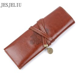 roll ups stationery Australia - Vintage Retro Pencil Cases Luxury Roll Leather PU Pen Bag Pouch For Stationery School Supplies Make Up Cosmetic Bag