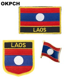 flag patches for clothes NZ - Laos flag patch badge 3pcs a Set Patches for Clothing DIY Decoration PT0100-3