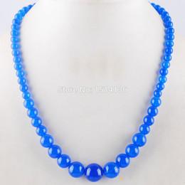$enCountryForm.capitalKeyWord NZ - WOJIAER New Fashion Jewelry Dark Blue Jades Gem Stone Round 6~14mm Beads Women Necklace 17.5 Inches LF3010