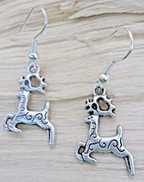 $enCountryForm.capitalKeyWord Australia - Christmas Reindeer Tibetan Silver Dangle Earrings Fashion 50 Pair Hook For Women Jewelry Party Drop Friendship Gift Charms Accessories