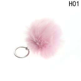 Artificial Chains Wholesalers Australia - 2018 Simple Key Chain Fur Ball Pompon Keychain Pompom Artificial Rabbit Fur Animal Keychains For Woman Car Bag KeyRing 20 Colors