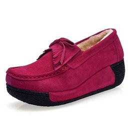 $enCountryForm.capitalKeyWord UK - Tangnest New Faux Suede Creepers Bowtie Shoes Woman Slip On Platform Loafers Flats Casual Ladies Shoes Size 35-41 XWC1399