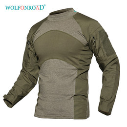 paintball clothes NZ - WOLFONROAD Men Army Green Rip-stop Tactical T Shirts Long Sleeve Camouflage Hiking T-Shirt Autumn Hunting Paintball Clothing