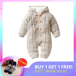 $enCountryForm.capitalKeyWord Australia - Iyeal Thick Warm Infant Baby Rompers Winter Clothes Newborn Baby Boy Girl Knitted Sweater Jumpsuit Hooded Kid Toddler Outerwear J190712