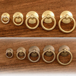 small drawer handles UK - Vintage Brass Kitchen Cabinet Ring Knobs Pulls Small Drawer Cupboard Wardrobe Door Pull Handles Factory Price