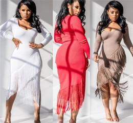Tassel sleeve whiTe dress online shopping - Womens skirt designer Dress one piece dress long sleeves split bodycon dresses mid calf Dresses high quality night wear very hot klw2448