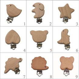 wooden pacifier clips NZ - 1pc New Arrival Lovely Wooden Pacifier Clip Natural Beech Wood Baby Pacifier Clips Dummy Clips Diy Pacifier Chain Accessory