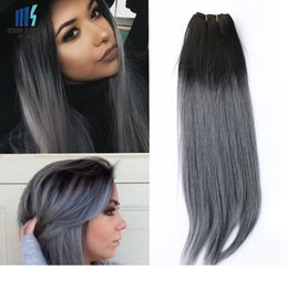 300g Two Tone T 1B Dark Grey Ombre Human Hair Weave Bundles Good Quality Colored Brazilian Peruvian Malaysian Indian Straight Hair Extension