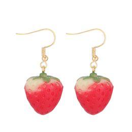 fe2b55034080 Girls strawberry earrings online-Pequeño dulce dulce linda chica fresa  oreja y clavo temperamento coreano