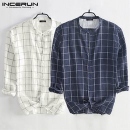 fashion mens plaid long sleeve shirt Australia - INCERUN Fashion Long Sleeve Mens Plaid Shirt Stand Collar Chic Button Streetwear Blouse Camisa Casual Brand Shirts Autumn S-5XL