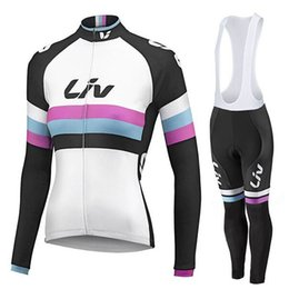 Pink cycling jersey for women online shopping - 2019 Women Spring Autumn LIV Cycling long Sleeves jersey bib pants sets Style For Ropa Ciclismo Cycling Tops Sportswear