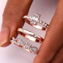 stainless steel infinity ring NZ - 3Pcs Set Fashion Infinity Rings Set For Women Girls Crystal Twist Ring Couples Gold Female Engagement Wedding Jewelry 2018 New