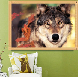 $enCountryForm.capitalKeyWord Australia - Brown Wolf In The Forest Landscape Painting DIY 5D Diamond Stitch Round 3D Diamond Stitch Tools Kit Diamond Mosaic Room Decor