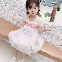Year Baby Dressing Style Australia - Girls Han Dress Dress Skirt 2019 Summer Chinese Style Modified Princess Skirt 12345 Years Old Baby Girls Retro Sweet Skirt Pink Blue 0301