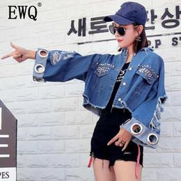$enCountryForm.capitalKeyWord Australia - [EWQ] 2019 Summer New Korean Fashion Clothing Top Ring Nail Rivet Hole Frayed Short Sleeve Denim Jacket Trend Coat QH74005