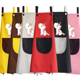 Personal Cartoons Australia - Unicorn Printed Aprons Advertising Fabric Waterproof Lovely Creative Home Aprons Customized Cartoon Personal Aprons Free Ship A190408W