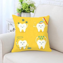 Children brushing teeth online shopping - Cute Cartoon Teeth Pillow Cleaning Cleaner Care Brush Hygiene Together Happy Tooth White Toothbrush Children Cushion For Home