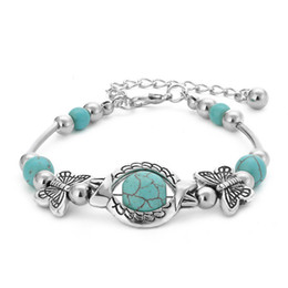 $enCountryForm.capitalKeyWord Australia - Fashion vintage turquoise beads bracelets antique silver butterfly charm bracelet handmade beaded women bracelet bohemian jewelry