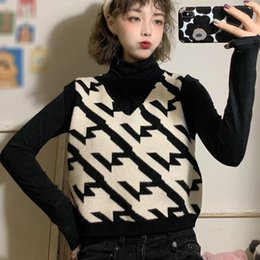 Knit vest girls online shopping - Autumn Winter Women Chic Geometric Pattern Knit Vests Ladies Fashion Loose V neck Sleeveless Sweaters For Girls