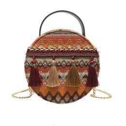 $enCountryForm.capitalKeyWord UK - 2019 New Fashion National Style Round Braided Tassel Messenger Bag Ladies Cosmetic Bags & Cases
