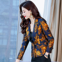 $enCountryForm.capitalKeyWord Australia - Spring Short Blazer Women Long Sleeve Elegant Coat Women Basic Jackets Office Blazers Print Small Suit Jacket Outerwear C5336