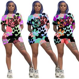 $enCountryForm.capitalKeyWord Australia - Luxury Tiger Head Shorts Set Women Designer Tracksuits Two Piece Summer Outfits Short Sleeve Sports Suit Bodysuit Jogging Set Cloth C62803