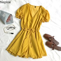 $enCountryForm.capitalKeyWord Australia - Neploe Summer Beach Wear Playsuits Jumpsuits Women Puff Sleeve V-neck Lady Rompers Loose Waist Drawstring Elegant Overalls 38781 Y19071801
