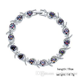 mystic topaz wedding ring sets UK - 3PCS   LOT Luckyshine Hot sell fashion 925 sterling silver newest natural mystic topaz gemstone chain bracelets