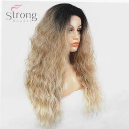 Kanekalon Lace Wigs NZ - Women's Lace Front Wig Ombre Hair Kanekalon Synthetic Hair Long Fluffy Natural Wavy Dark root Wigs