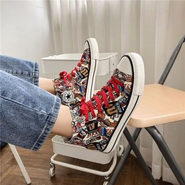 hand painting canvas shoes NZ - Autumn new Harajuku style hand-painted art graffiti canvas shoes men's youth high-top fashion shoes casual
