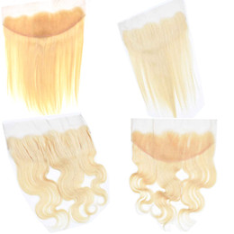 Wholesale 613 Blonde Russian Human Hair Free Part Lace Frontal Closure x4 Best Body Wave Bleached knots Remy Straight Virgin Hair Products inch