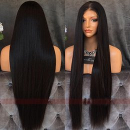 medium length human hair lace wig Australia - hot new Hair Lace Front Human Hair Wigs Pre Plucked Brazilian Remy Hair Lace Straight Lace Front Wigs Natural Color