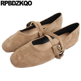 Brown Ballerina Flats NZ - china 2019 shoes chinese ladies ballerina driving designer suede square toe japanese school soft ballet flats women mary jane