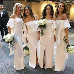 Black sleeve Bridesmaids dress online shopping - Chiffon Long Bridesmaid Dresses With Short Sleeves Off The Shoulder Maid Of Honor Dress Front Split Ruffles Sheath Wedding Prom Gowns