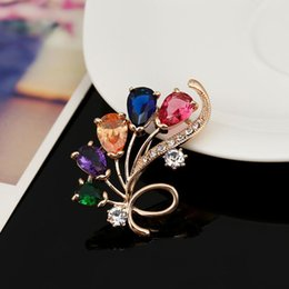 asian party suits Australia - Crystal Flower Brooch Woman Shirt Collar Suit Pins Wedding Party Jewelry Dress Coat Pins Woman Cloth Accessories