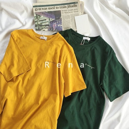 T Shirt Vintage Korean Australia - Summer Vintage Women Boyfriend T Shirt Short Sleeve Yellow Green Loose Letter Print Female T-shirt Harajuku Tumblr Korean Tops J190427