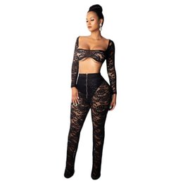 black backless jersey NZ - sexy clubwear sheer backless top and pant lace women's Two Piece Pants sexy two piece suit womenswear wholesale