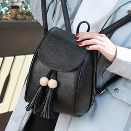 $enCountryForm.capitalKeyWord Australia - Designer-2017 New women PU backpack the stylish tassel pure color travel bags Europe and the United States institute of big-name school bag