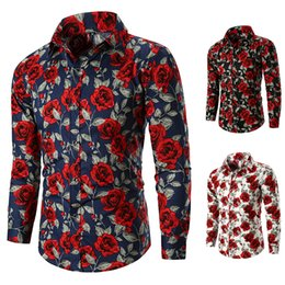 Black White Rose Prints Australia - Men's Shirt, New European Men's Long-sleeve Shirt, Rose Print, Fashion Casual, Black white cyan, 3-3XL Size.