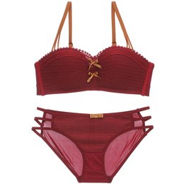 Ups Cup NZ - 4 colors 1 2 cup dress red new push up gather young girls bra and panty set one-piece hollow out sexy lingerie intimates