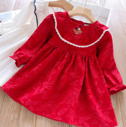$enCountryForm.capitalKeyWord Australia - 2019 Autumn girls dresses kids flower embroidery flare sleeve pleated dress children lace hollow V falbala princess dress kid clothes F8418